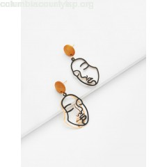 Two Tone Face Design Drop Earrings uwH4YWZC