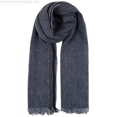New collection COTTON AND LINEN SCARF BLEU FONCÉ SCOTCH AND SODA MEN BhvYhkkG